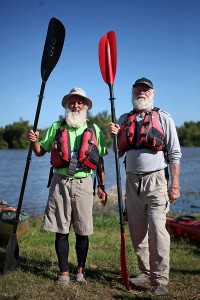 GRAY BEARDS: Dale Sanders, 80, left, and Richard Sojourner, 70, stand in front of the Yazoo River Diversion Canal Friday morning.